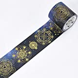 WRITIME Washi Tape Masking Tape 5M/Sterne Farbe Folie Bronze Papier mit Konstruktion Papier Sterne Sterne Geometrie Papierband, Magic Star Array 45 Mm
