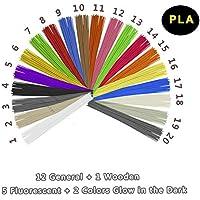 3D Penna Filamento Ricarica PLA - VICTORSTAR 20 Colori, 200 Metri (656ft) / Includere Colori 1 Legno + 2 Bagliore nel Buio + 5 Fluorescente / Diametro 1,75mm / Materiale in Resina Vegetale e Nessun Odore Meglio per la Salute