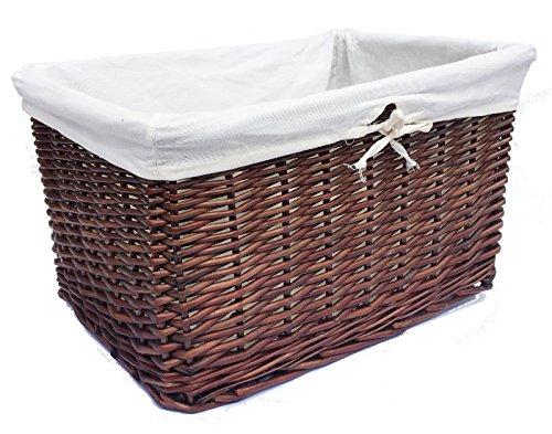 Aufbewahrungskorb fürs Wohnzimmer, Korb für Kaminholz, Weidenkorb, groß und tief, braun, Set of 2 XXLarge