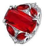 Zoylink Roter Ring der Frauen Hochzeitsring Elegante Dekorative Zirkon Engagement Schmuck Ring