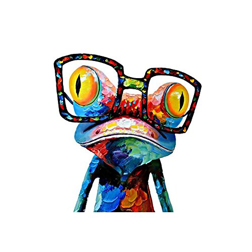 DecalMile Karikatur Tier Frosch Mit Brille Drucke Malerei Rahmenlose Leinwand drucken Wandkunst Kinderzimmer Haus Dekoration Bereit zum Aufhängen 40 X 40cm (Tier Leinwand-drucke)