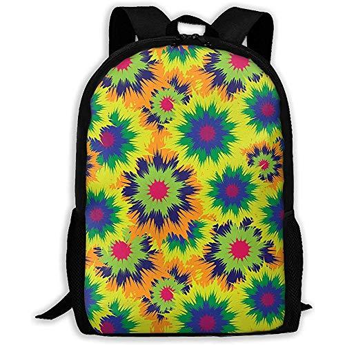 Schultasche,Freizeitrucksack,Reisetasche,Umhängetasche,Unisex Tie Dye Flower Custom,Laptoptasche,Outdoor,Mehrzweck,Pack College,Rucksack Geschenk für Kinder/Erwachsene -