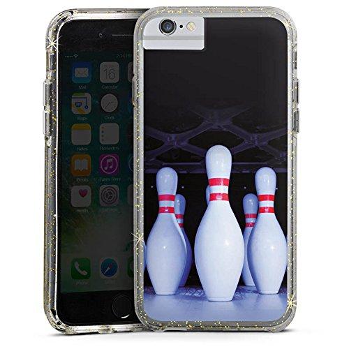 Apple iPhone 6s Bumper Hülle Bumper Case Glitzer Hülle Bowling Pins Strike Bumper Case Glitzer gold