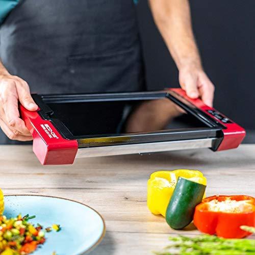 ECO DE Plancha de asar eléctrica Digital con Termostato regulable y superficie de cocción de cristal German Touch ECO-430