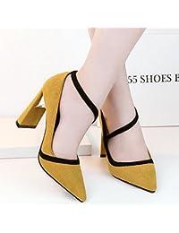 FAN4ZAME Fall Recalcó La Boca Superficial Talón Grueso Zapatos De Tacón De 10Cm De Color Mate Moda Zapatos De Mujer 38 Amarillo