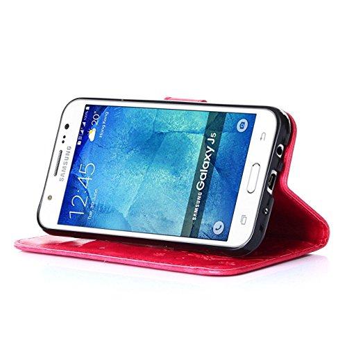 Anfire Papillon et Fleur Motif Peint Mode PU Cuir Étui Coque pour Samsung J5 (2016) Housse de Protection Luxe Style Livre Pochette Étui Folio Rabat Magnétique Coque Couverture pour Samsung Galaxy J5 ( Hot Pink