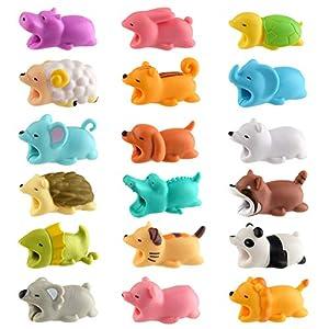 protectoras de animales: TUPARKA 18 PCS Protector de Cable Cute Animals,Mordeduras de Cable, Diseño de Hu...