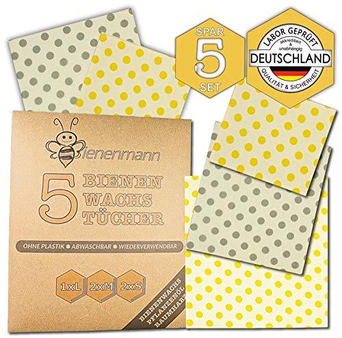 Bienenmann 5 Stück Bienenwachstücher für Lebensmittel, Beeswax Wrap, Wachstücher Bienenwachs, Alternative Frischhaltefolie nach LFGB, Bienenwachs Folie, Wachstuch Lebensmittel Größen L, M, & S