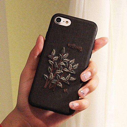 HuaYuannewcover Für iPhone 8 & 7 Stoff Retro Mode Stickerei Blume Pflanze Muster kunstvollen Design Schutz Anti-Rutsch-Full Coverage zurück Deckung Fall Protective Cover (Großauswahl : Ip7g3527b)