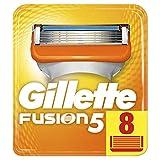 Gillette Fusion5 - Cuchillas para maquinilla de afeitar, 5 hojas antifricción, para un afeitado imperceptible, paquete apto para el buzón de correos, 8 recambios