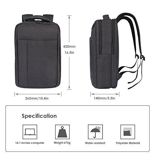 a basso prezzo bf156 c9d2d REYLEO Zaino per Computer Portatile Backpack Laptop impermeabile Zainetto  uomo per ufficio e scuola ( Nero ) | Valigeria