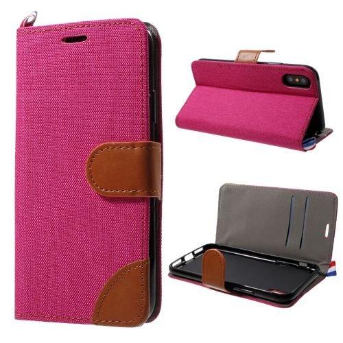 jbTec® Flip Case Handy-Hülle zu Apple iPhone X - BOOK MUSTER JEANS - Handy-Tasche, Schutz-Hülle, Cover, Handyhülle, Ständer, Bookstyle, Booklet, Farbe:Schwarz Pink