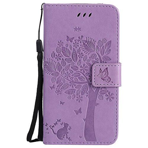 Samsung Galaxy Grand Prime SM-G530 G531 Hülle, Chreey Prägung [Katze Baum] Muster PU Leder Hülle Flip Case Wallet Cover mit Kartenschlitz Handyhülle Etui Schutztasche [Hell lila] (Rihanna Ausschnitt)