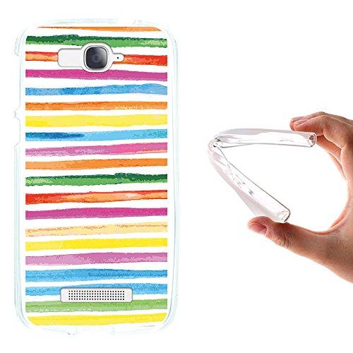 WoowCase Alcatel One Touch Pop C7 Hülle, Handyhülle Silikon für [ Alcatel One Touch Pop C7 ] Aquarell- farbige Streifen Handytasche Handy Cover Case Schutzhülle Flexible TPU - Transparent
