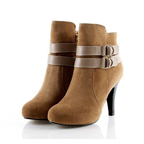 Impermeabile ad alta scarpe tacco europei e americani stivali di scrubbing Camel color