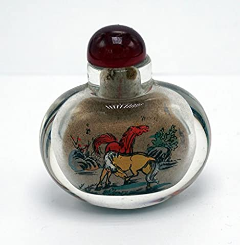 Chinese Glass Snuff Bottle/Biyanhu with Reversed Painted Technique