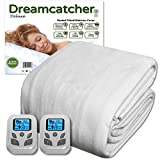 Dreamcatcher Double Electric Blanket Luxury Polyester, 2 x Bedside Controllers, 137 x 193cm Electric Heated Blanket, Fully Fitted Mattress Cover with 9 Comfort Settings & Timer, Machine Washable