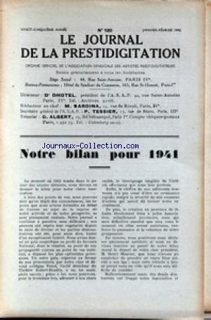 JOURNAL DE LA PRESTIDIGITATION [No 120] du 01/01/1942 - BILAN POUR 1941.