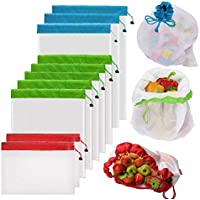 Reusable Mesh Produce Bags by YOWAO, Washable See-Through Lightweight Mesh Bags for Fruit, Vegetable, Toys, Grocery, and Supermarket Shopping Storage (50D, 3 Large, 5 Medium, 2 Small)