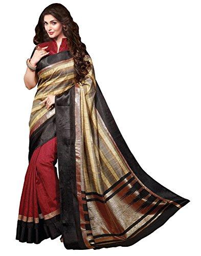 Glory Sarees Women's Silk Saree With Blouse Piece (Klp-Aysa-1, Maroon, Free Size)