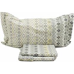 Caleffi - Juego de sábanas de franela para cama de matrimonio con motivos geométricos, gris