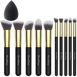 EmaxDesign 11 Make-up Pinselset 10 Stück Gold Schwarz Professionell Premium Synthetisch Kabuki Grundierung Kosmetik Bürsten Set Und 1 Stück EmaxBeauty Blender Schwamm