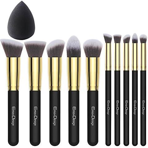 EmaxDesign 10+1 Maquillage Ensemble De,10 pièces doré Noir Premium Synthétique Kabuki Mélange Rougeur Sourcil Visage Poudre Liquide Crème Produits cosmétiques Pinceaux & 1 EmaxBeauty Makeup