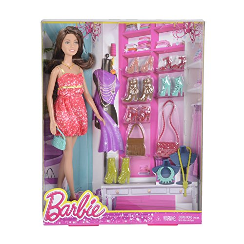 Barbie Doll Teresa Brunette Dress Shoes Closet Accessories Set (Spielen Halloween-kostüm Barbie)