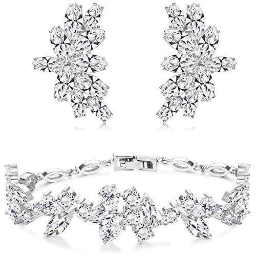 Adramata Braut Hochzeit Ohrringe Armbänder Schmuck Set Strass Ohrringe Armbänder für Bräute Brautjungfern