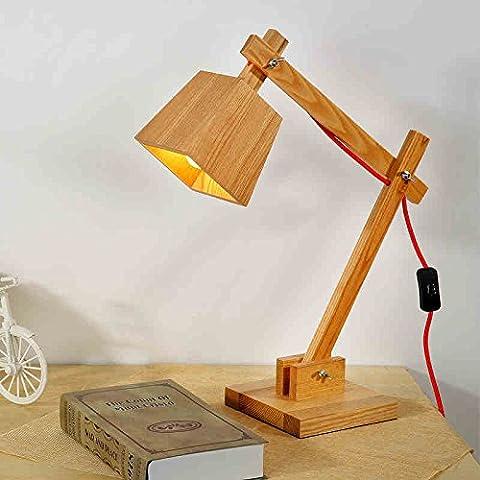 LLYY-Retro macchina Nordic personalità creativa cucciolo lampada da comodino camera da letto den leggero legno lampada da
