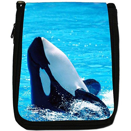 Killer/orca balene Orcinus orca Medium Nero Borsa In Tela, taglia M Orca Plays In Water Summer Sun