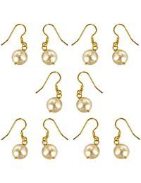 Surat Diamonds Set Of 5 White Shell Pearl & Gold Plated Wire Dangle & Drop Earrings For Women (H1670)
