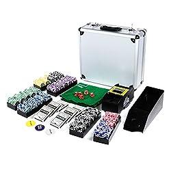 Pokerkoffer DeLuxe Pokerset mit 600 OCEAN CHAMPION CHIPS mit Metallkern á 12 g viel Zubehör Kartenmischer Kunststoffkarten Kartengeber Spielmatte Poker-Komplettset Black Jack Texas Holdem