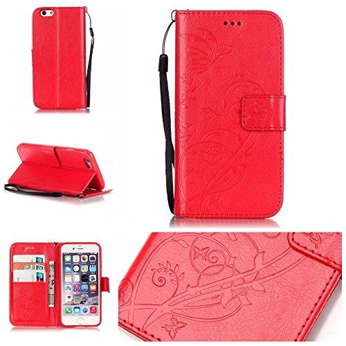 iPhone Case Cover IPhone 6 6S Folio Flip Stand Case, étui de portefeuille avec trésorerie et fente de carte Premium PU Housse en silicone pour iPhone 6 6S 4.7 pouces ( Color : Blue , Size : IPhone 6 6 Red