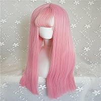 Europa y América Sra Peluca de Lolita Harajuku El aire femenino golpea el pelo largo y liso Segundo elemento falso cabello rosa claro Peluca japonesa de la muchacha Mascarilla natural Peluca de fibra