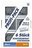 Kopp 923415053 Malta Profi-Pack: 6 Schutzkontakt-Steckdosen mit erhöhtem Berührungsschutz (Kinderschutzabdeckung), silber-anthrazit