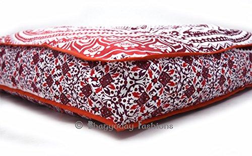 Exklusive Ombre Mandala quadratisch Boden Kissenbezug, Oversize osmanischen Pouf Platz Meditation Kissen Überwurf Hund/Pets Bett 88,9cm (Kissen nur Bezug) (Weicht Hund Bett)