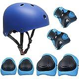 Casco Rodilleras y Coderas Para Niños Protecciones Skate Patines SKL Casco Tamaño Ajustable Deportivos BMX Bicicleta, Monopatín (Azul)