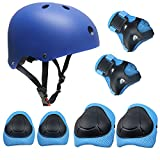 TOPFIRE Children's Scooter HoverBoard BMX Bike Helmet, Gel Knee, Elbow Pads and Hand Pads (Blue)