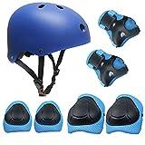 Topfire 7 PCS Sport Equipement Genouillère Coudière Kneepads Protection de Poignet Casque Helmet pour Enfants Petit