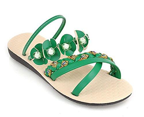Senhoras Verde Peep Sandália Aisun Flores Liso Toe Conforto Strass SZnHUwqHv