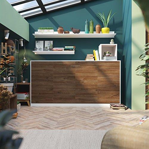 SMARTBett Basic 90x200 Horizontal Weiss/Nussbaum Schrankbett | ausklappbares Wandbett, ideal geeignet als Wandklappbett fürs Gästezimmer, Büro, Wohnzimmer, Schlafzimmer