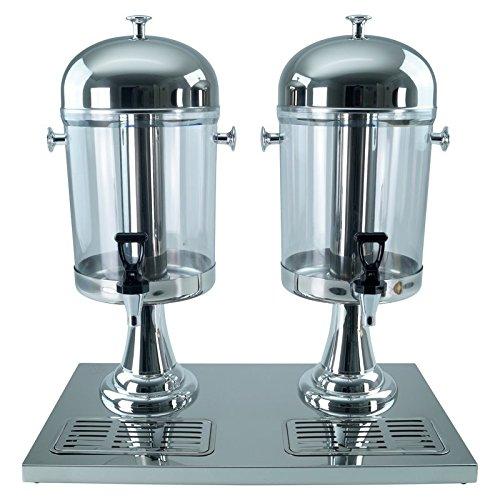 Saft-Dispenser Getränkedispenser Saftspender 2 x 8 Liter mit Kühlelement - silber