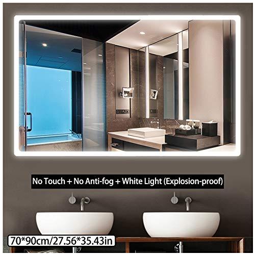 CYANNAN 70 X 90 cm LED Badezimmer-Spiegel-Licht-LED rechteckig Spiegel Illuminated Sensor und beheizbarer Demister Spiegel Pad,A1,70 * 90CM