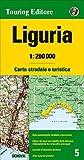 Ligurien Strassenkarte, Karte, Landkarte TCI (Touring Club Italiano) Blatt 5, Liguria / Ligurien, Genova, Genua, La Spezia, Imperia, Savona, 1.200.000 - Landkartenhaus