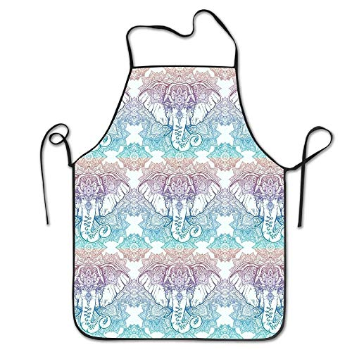 dfgjfgjdfj Chefs Schürze Floral Elephant Head Pattern Funny Küche Schürzes Cooking Schürze (Elephant Head Kostüm)