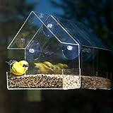 Evelots - Mangeoire à oiseau en acrylique transparent, grand solide à ventouses