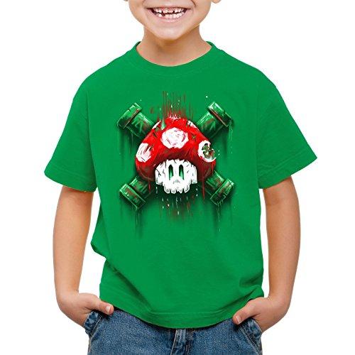 style3 Mario Totenkopf T-Shirt für Kinder Videospiel Konsole super World, Farbe:Grün, Größe:140