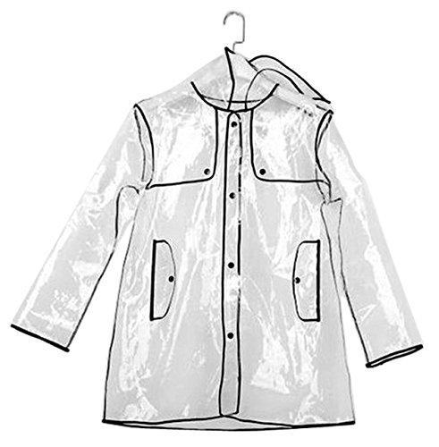 INMOZATA transparente de la mujer largo con capucha chubasquero, talla 8 A 14 (Estilo corto)