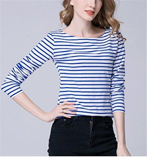 AILIENT Donne Lungo Manica Slim T-Shirt Camicia A Righe A Maniche Lunghe Camicetta Moda Maglie Maglietta Casual Blue